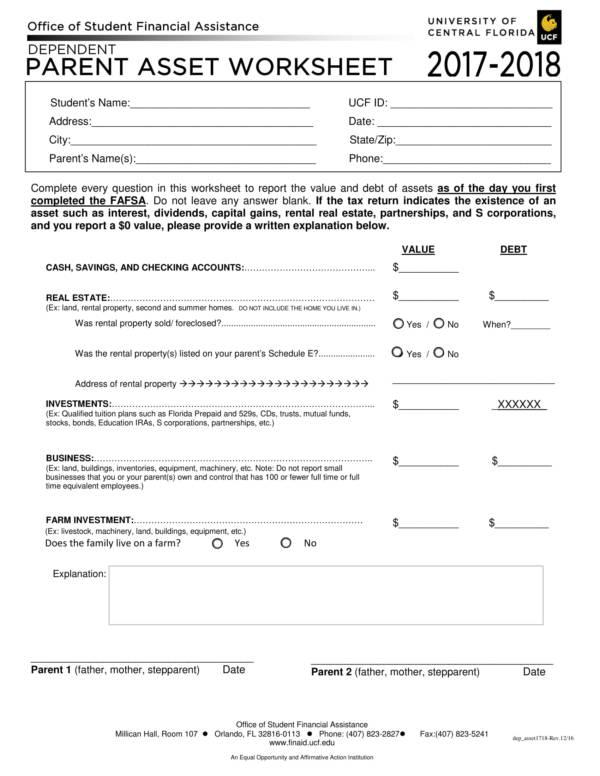 parent asset worksheet 1