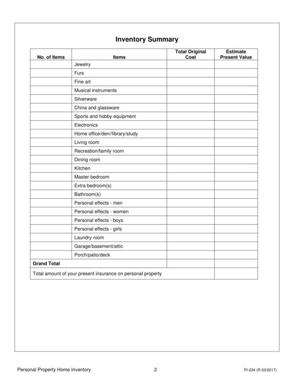 personal property home inventory worksheet 02