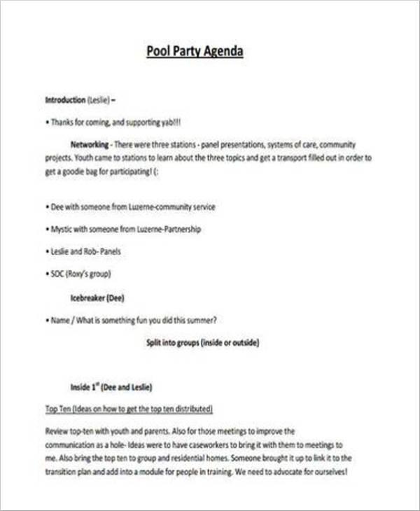 pool party agenda
