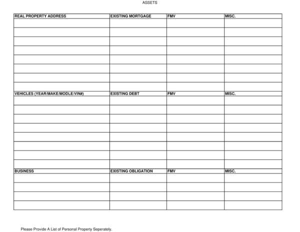 printable asset worksheet template 1