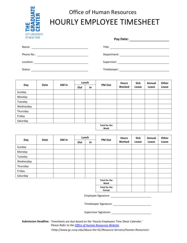 printable hourly employee time sheet template 1