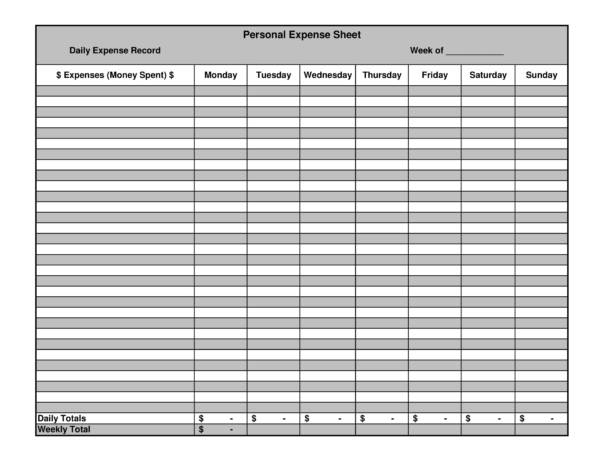 printable personal expense spreadsheet 1