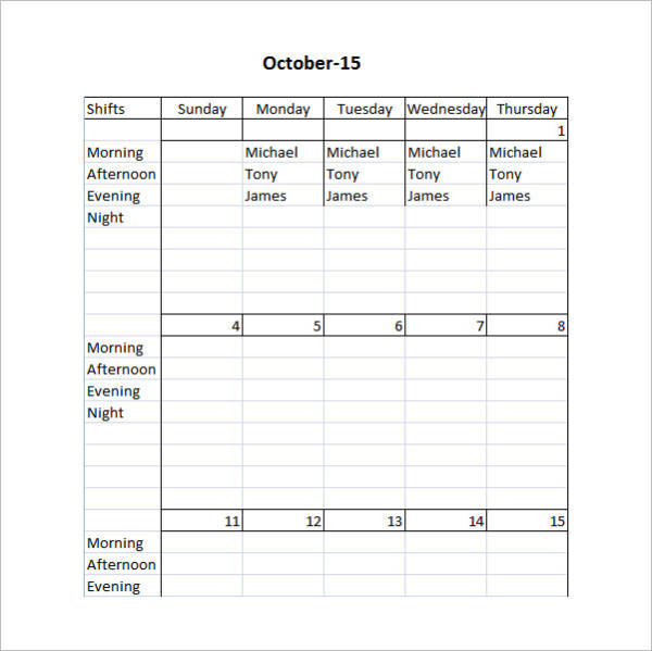 printable restaurant shift scheduling template