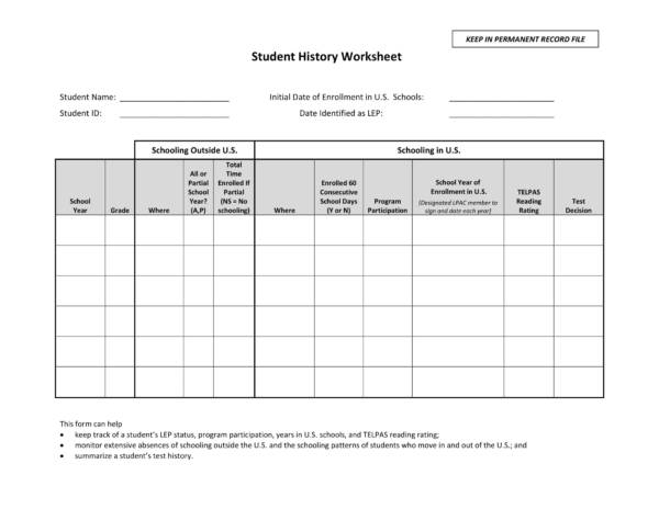 printable student history worksheet 1