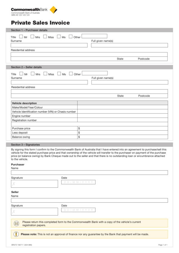 private car sales invoice template 1