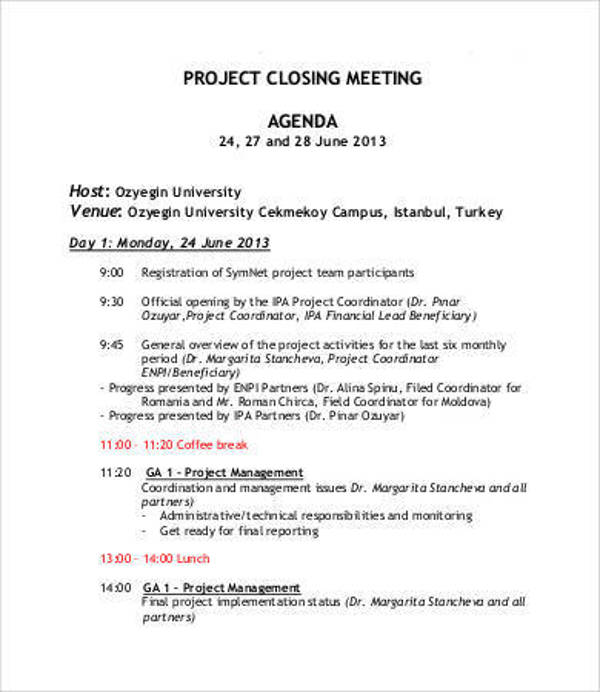 project closing meeting agenda template1