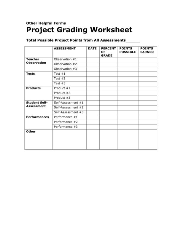 project grading worksheet template 1