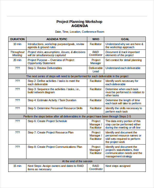 project planning workshop agenda template