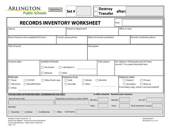 public school records inventory worksheet 1