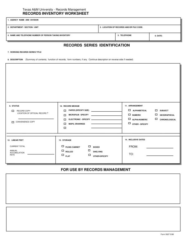 records inventory worksheet 1