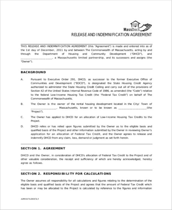 release indemnity agreement