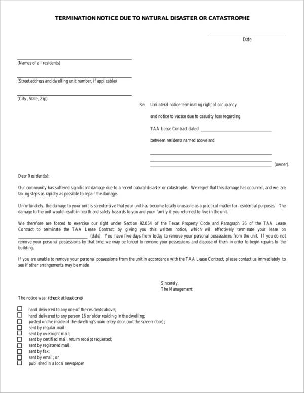rental agreement termination notice letter due to catastrophe
