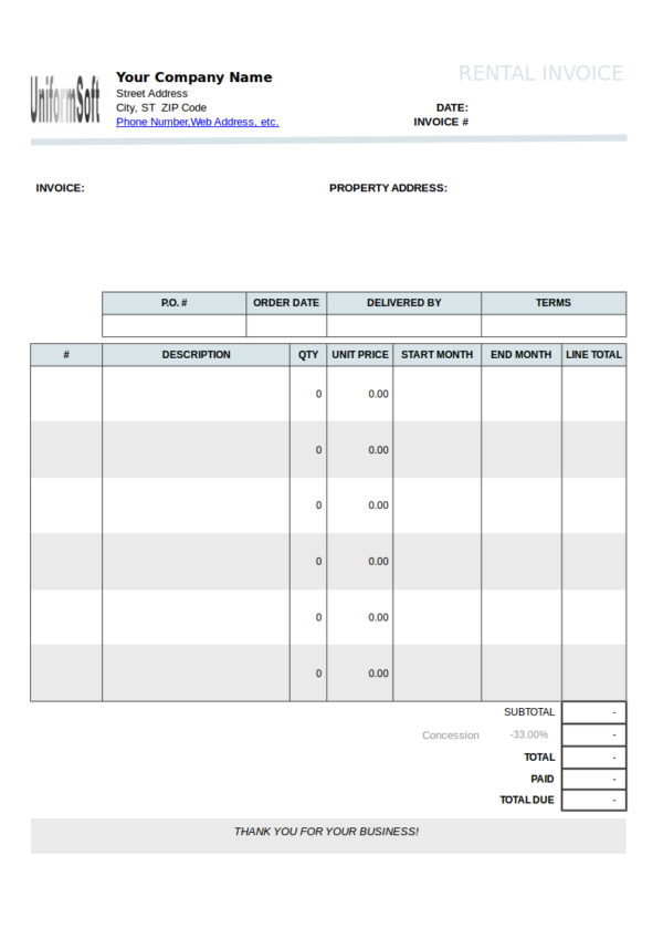 rental billing statement template with instructions