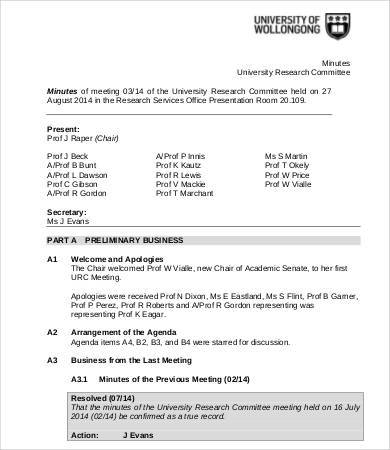 research committee agenda template