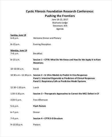 research conference sample agenda