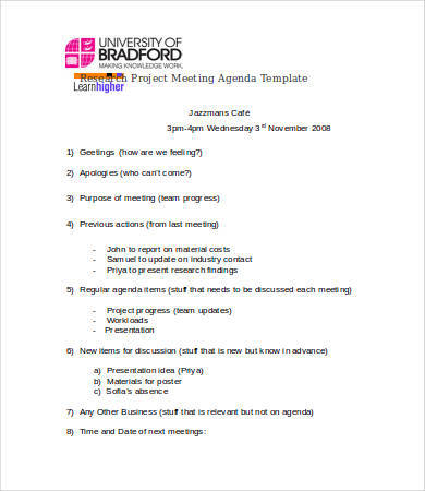research project meeting agenda template