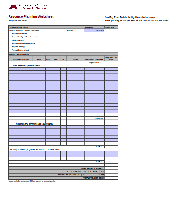resource planning worksheet template
