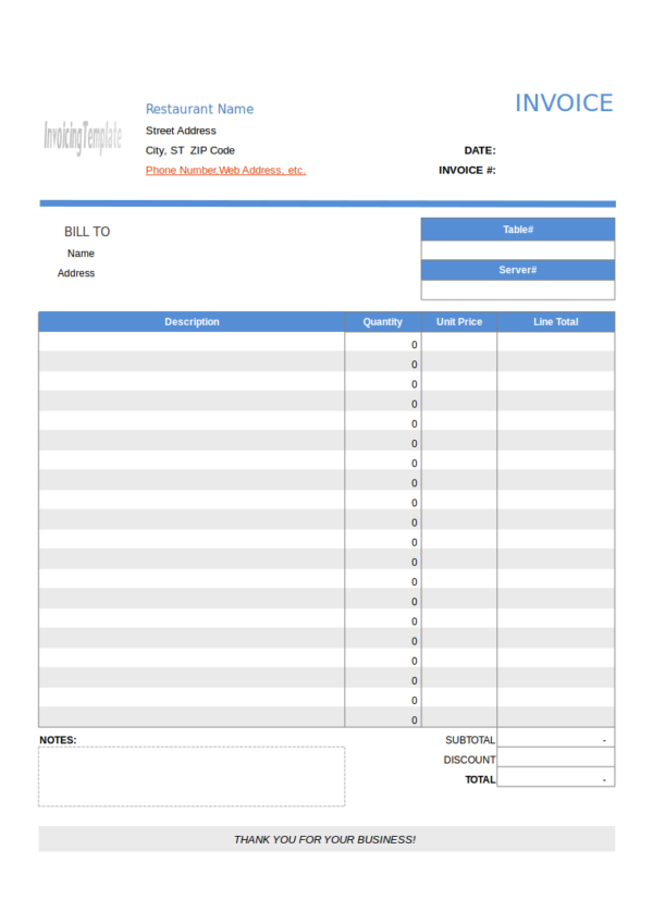 restaurant invoice template with no tax
