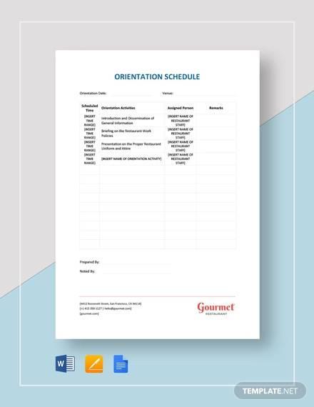 restaurant orientation schedule template