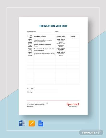 restaurant orientation schedule template1