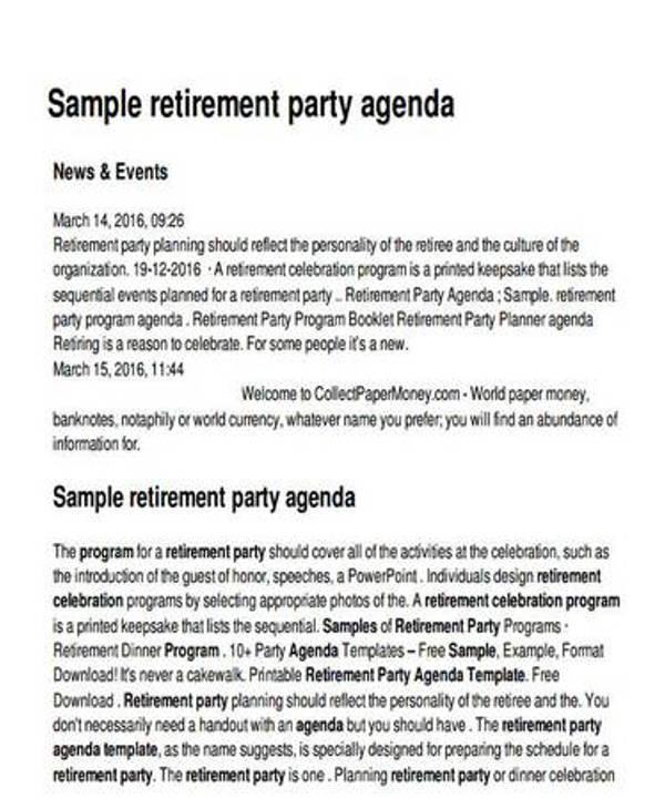 retirement party agenda sample