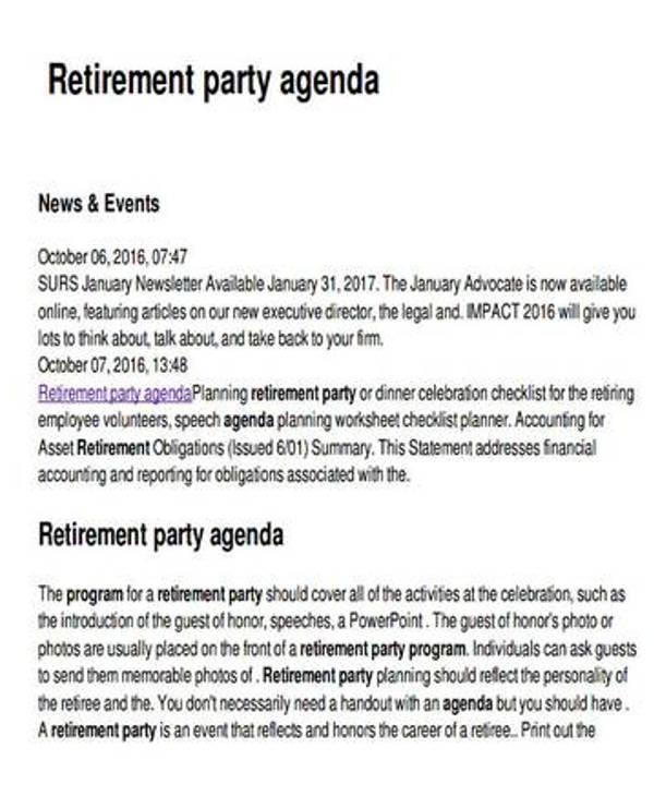 retirement party planning agenda