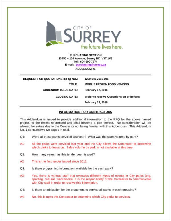 sales addendum template in pdf