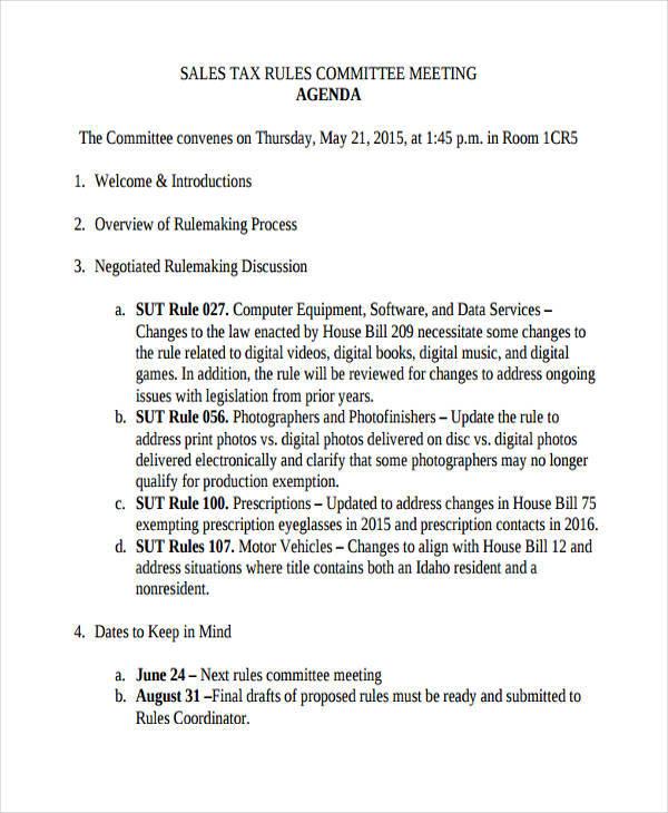sales committee meeting agenda
