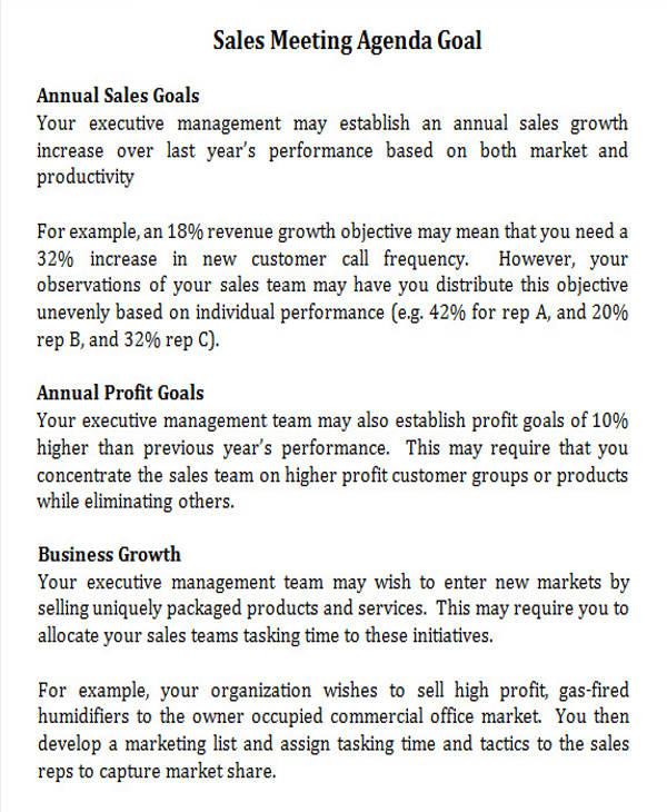 sales meeting agenda goal