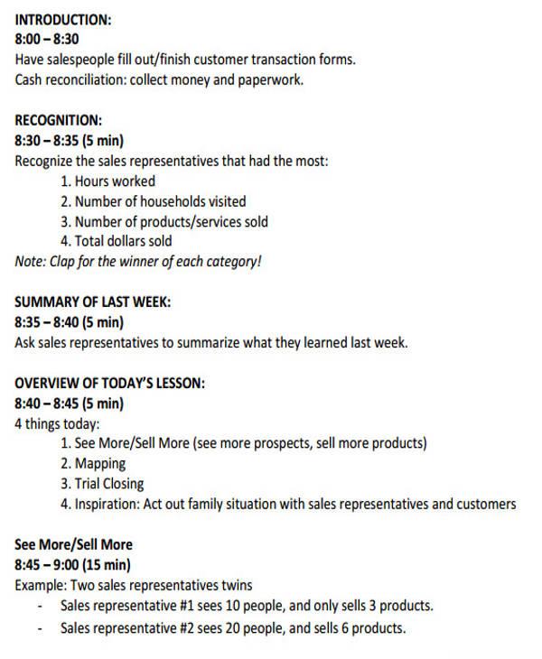 sales meeting agenda plan