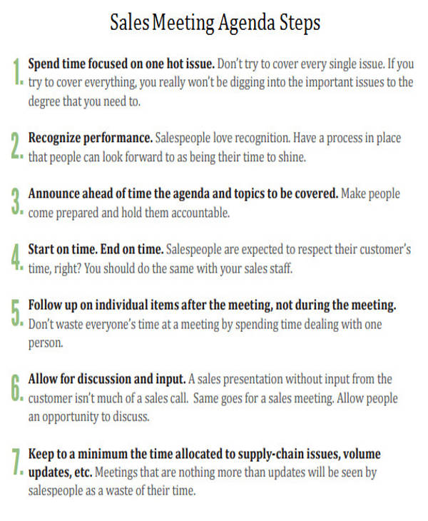 sales meeting agenda steps