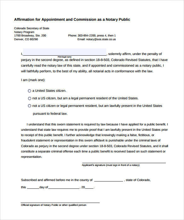 sample affirmation notary statement template