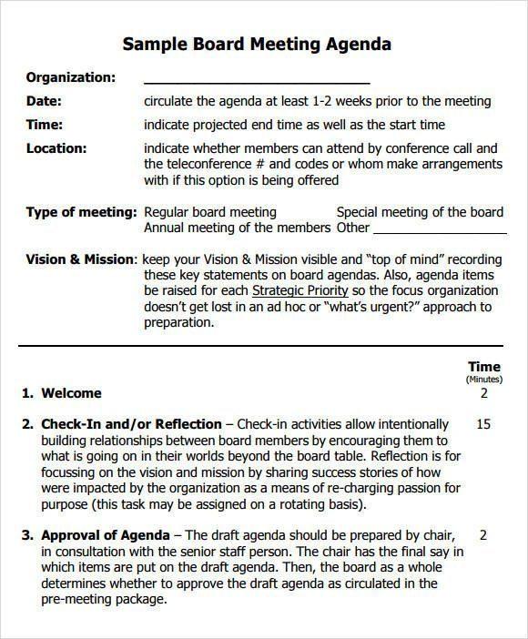 sample board meeting agenda e1525763548194