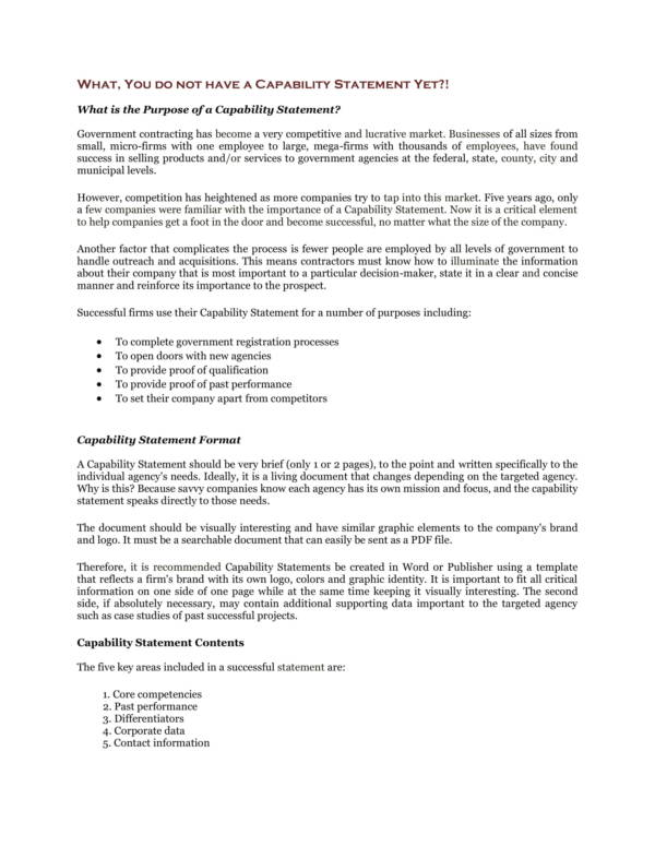 sample capability statement narrative 1