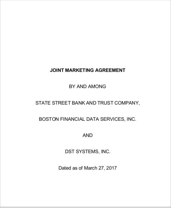 sample joint marketing agreement in pdf