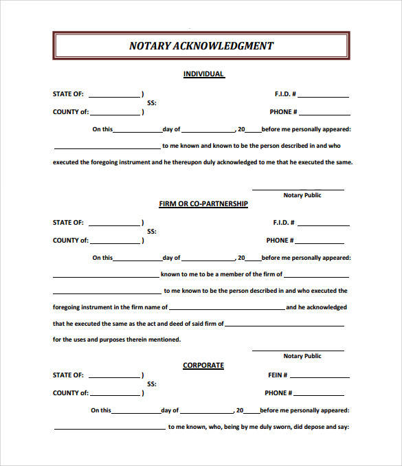 sample notary ackowledgement form