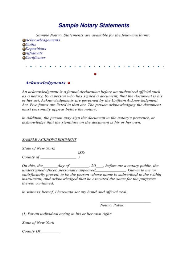 sample notary statement template 1