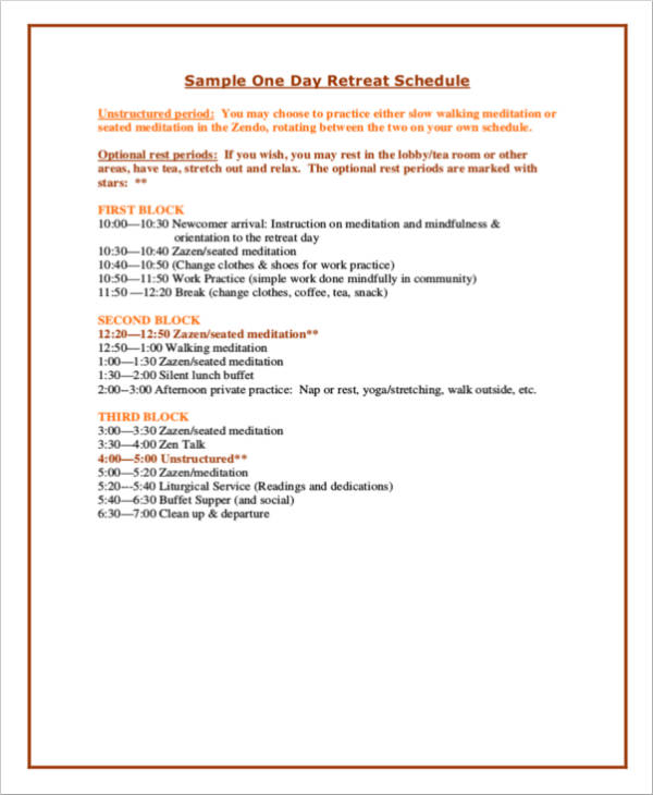 sample one day retreat schedule