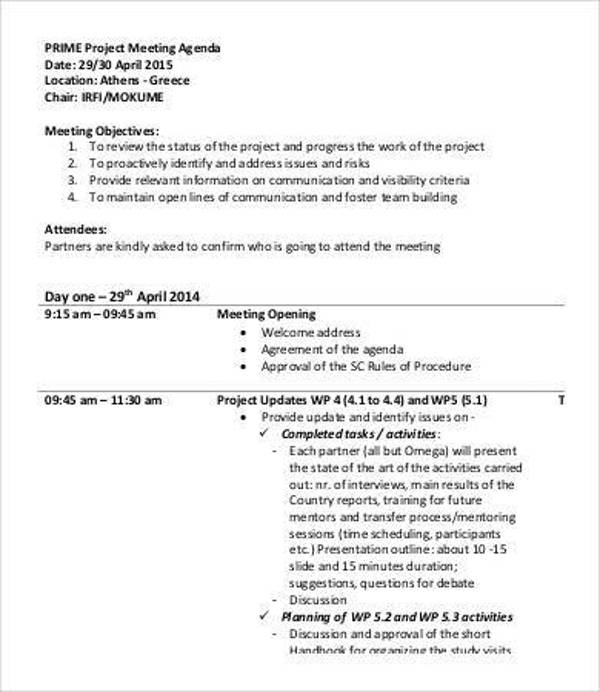 sample project meeting agenda template1