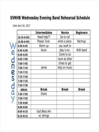 sample schedule for evening rehearsal