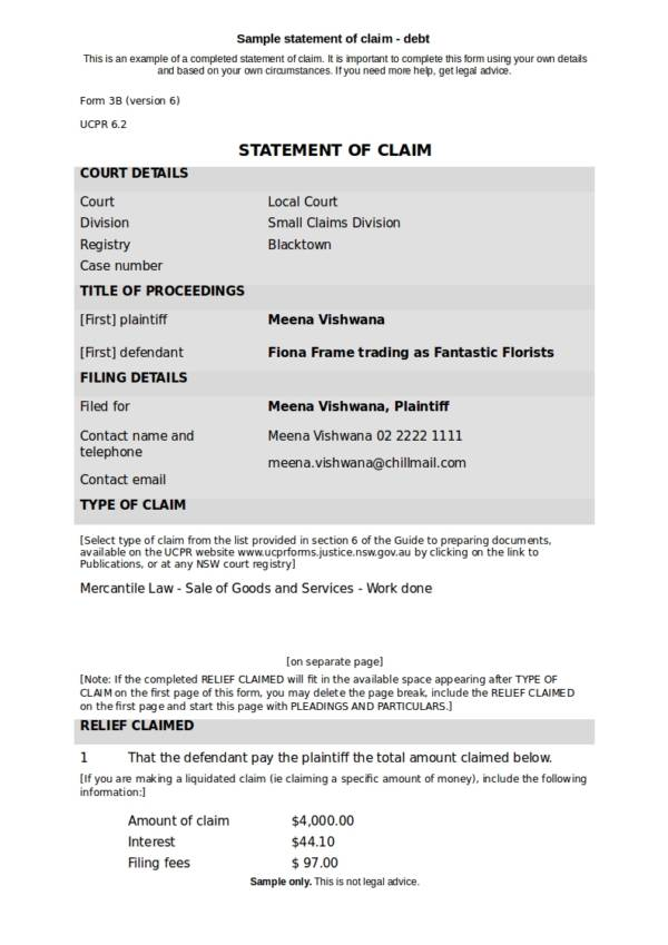 sample statement of claim for debt