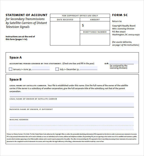 sample template for statement of account