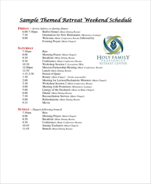 sample themed retreat weekend schedule