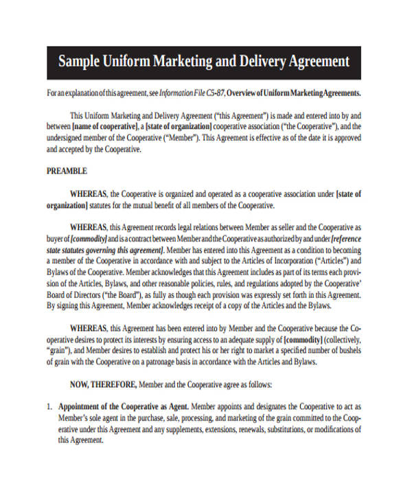 12 Marketing Agreement Samples And Templates Pdf Sample Templates