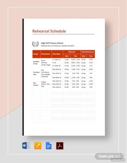 school rehearsal schedule template