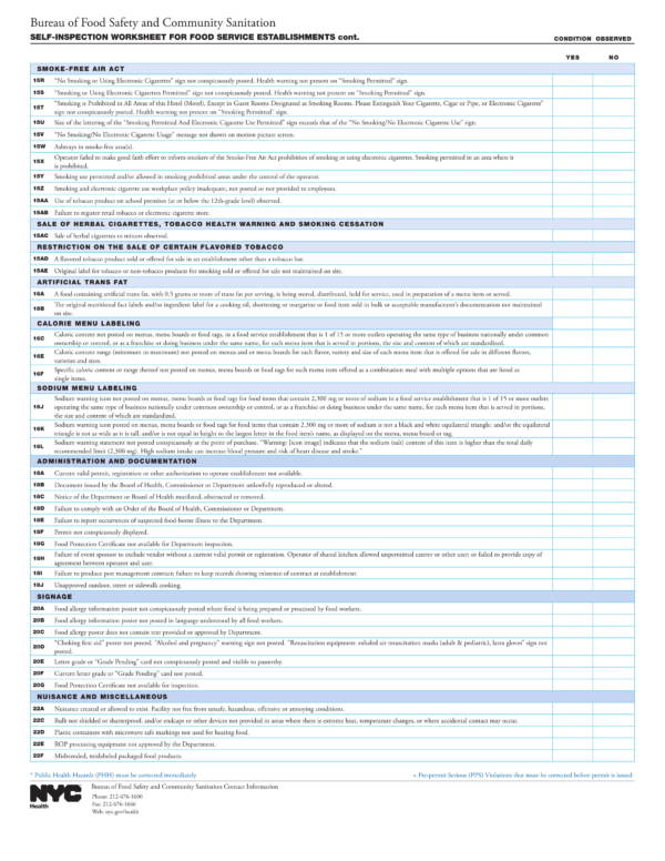 self inspection worksheet template for food service establishments 3