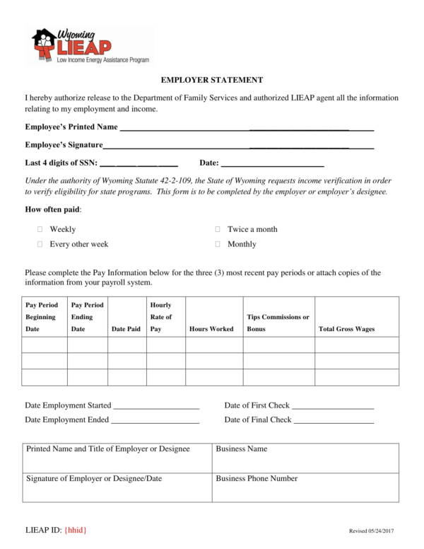 simple employer statement template 1