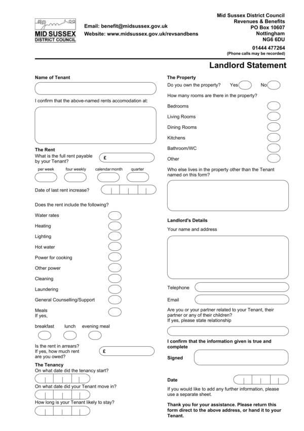 simple landlord statement template 1