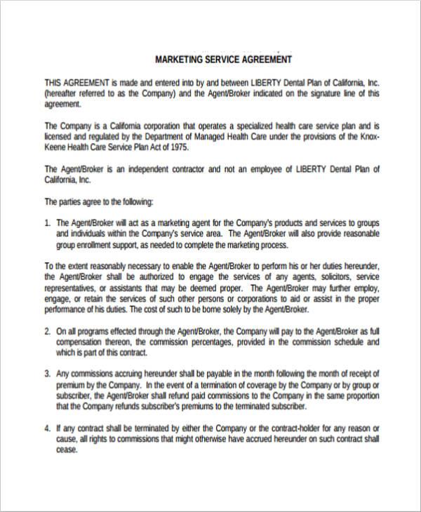 simple marketing service agreement