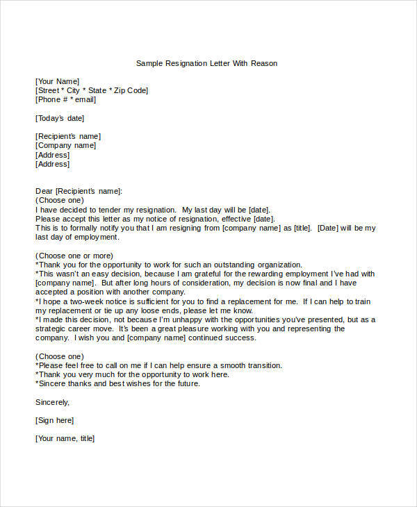 simple resignation letter sample with reason 9 health resignation letter samples and templates pdf word 25394 | Simple Resignation Letter with Reason Template